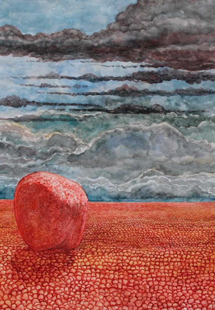 Den stora röda stenen, ur serien landskapsbilder  Akvarell 29,7 x 42 cm  2012